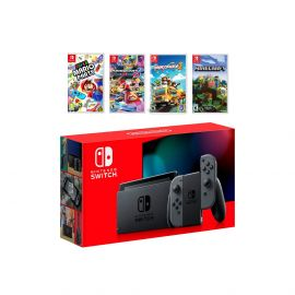 2019 New Nintendo Switch Gray Joy-Con Console Multiplayer Party Game Bundle, Super Mario Party, Mario Kart 8 Deluxe, Overcooked 2, Minecraft