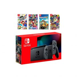 2019 New Nintendo Switch Gray Joy-Con Console Multiplayer Party Game Bundle, Super Mario Party, Mario Kart 8 Deluxe, Overcooked 2, Super Bomberman R