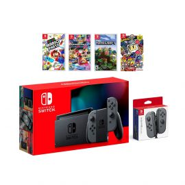 2019 New Nintendo Switch Gray Joy-Con Console Multiplayer Party Game Bundle + Extra Pair of Gray Joy-Con, Super Mario Party, Mario Kart 8 Deluxe, Minecraft, Super Bomberman R