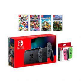 2019 New Nintendo Switch Gray Joy-Con Console Multiplayer Party Game Bundle + Neon Pink/Green Joy-Con, Super Mario Party, Mario Kart 8 Deluxe, Overcooked 2, Minecraft