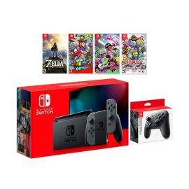 2019 New Nintendo Switch Must-Play Bundle, 32GB Gray Joy-Con Console Set, Pro Controller, The Legend of Zelda: Breath of the Wild, Super Mario Odyssey, Splatoon 2, Hyrule Warriors