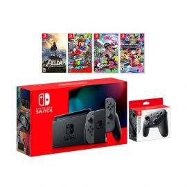 2019 New Nintendo Switch Must-Play Bundle, 32GB Gray Joy-Con Console Set, Pro Controller, The Legend of Zelda: Breath of the Wild, Super Mario Odyssey, Splatoon 2, Mario Kart 8 Deluxe