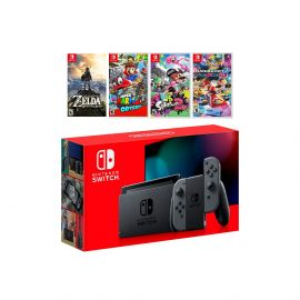 2019 New Nintendo Switch Must-Play Bundle, New Released 32GB Gray Joy-Con Console Set, The Legend of Zelda: Breath of the Wild, Super Mario Odyssey, Splatoon 2, Mario Kart 8 Deluxe