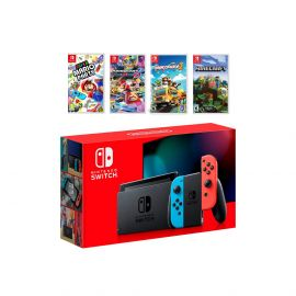 2019 New Nintendo Switch Red/Blue Joy-Con Console Multiplayer Party Game Bundle, Super Mario Party, Mario Kart 8 Deluxe, Overcooked 2, Minecraft