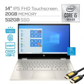 """2020 HP Pavilion x360 2 in 1 Touchscreen Laptop, 14"""" IPS FHD PC, 10th Gen Core i5 4-Core up to 3.60 GHz, 20GB RAM, 512GB SSD, USB-C, Backlit, FP Reader, Webcam, Wi-Fi 6, Mytrix HDMI 2.0 Cable, Win 10"""