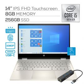 """2020 HP Pavilion x360 2 in 1 Touchscreen Laptop, 14"""" IPS FHD PC, 10th Gen Core i5 4-Core up to 3.60 GHz, 8GB RAM, 256GB SSD, USB-C, Backlit, FP Reader, Webcam, Wi-Fi 6, Mytrix Ethernet Hub, Win 10"""