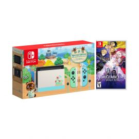 2020 New Nintendo Switch Animal Crossing: New Horizons Edition Bundle with Fire Emblem: Three Houses NS Game Disc and Mytrix NS Tempered Glass Screen Protector - 2020 New Limited Console!