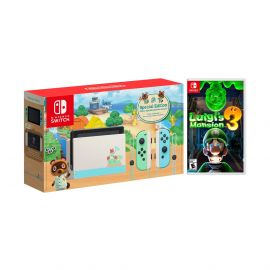 2020 New Nintendo Switch Animal Crossing: New Horizons Edition Bundle with Luigi's Mansion 3 NS Game Disc and Mytrix NS Tempered Glass Screen Protector - 2020 New Limited Console!