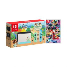 2020 New Nintendo Switch Animal Crossing: New Horizons Edition Bundle with Mario Kart 8 Deluxe NS Game Disc and Mytrix NS Tempered Glass Screen Protector - 2019 Best Game!