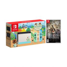 2020 New Nintendo Switch Animal Crossing: New Horizons Edition Bundle with Octopath Traveler NS Game Disc and Mytrix NS Tempered Glass Screen Protector - 2019 New Game!