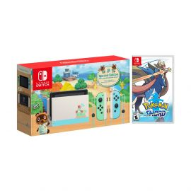 2020 New Nintendo Switch Animal Crossing: New Horizons Edition Bundle with Pokemon Sword NS Game Disc and Mytrix NS Tempered Glass Screen Protector - 2020 New Limited Console!