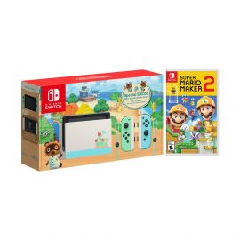 2020 New Nintendo Switch Animal Crossing: New Horizons Edition Bundle with Super Mario Maker 2 NS Game Disc and Mytrix NS Tempered Glass Screen Protector - 2020 New Limited Console!