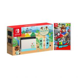 2020 New Nintendo Switch Animal Crossing: New Horizons Edition Bundle with Super Mario Odyssey NS Game Disc and Mytrix NS Tempered Glass Screen Protector - 2019 Best Game!