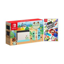 2020 New Nintendo Switch Animal Crossing: New Horizons Edition Bundle with Super Mario Party NS Game Disc and Mytrix NS Tempered Glass Screen Protector - 2019 Best Game!