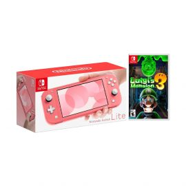 2020 New Nintendo Switch Lite Coral Bundle with Luigi's Mansion 3 NS Game Disc - 2019 New Game!
