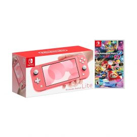 2020 New Nintendo Switch Lite Coral Bundle with Mario Kart 8 Deluxe NS Game Disc - 2019 Best Game!