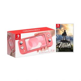 2020 New Nintendo Switch Lite Coral Bundle with The Legend of Zelda: Breath of the Wild Game Disc - 2019 Best Game!