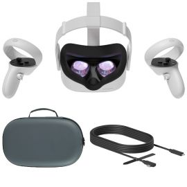 2020 Oculus Quest 2 All-In-One VR Headset, Touch Controllers, 256GB SSD, 1832x1920 up to 90 Hz Refresh Rate LCD, Glasses Compitble, 3D Audio, Mytrix Carrying Case, Oculus Link Cable (3M)