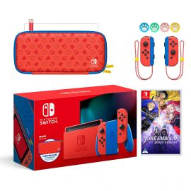 2021 New Nintendo Switch Mario Red & Blue Limited Edition with Mario Iconography Carrying Case and Screen Protector Bundle With Fire Emblem: Three Houses And Mytrix Joystick Caps