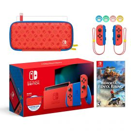 2021 New Nintendo Switch Mario Red & Blue Limited Edition with Mario Iconography Carrying Case and Screen Protector Bundle With Immortals Fenyx Rising And Mytrix Joystick Caps