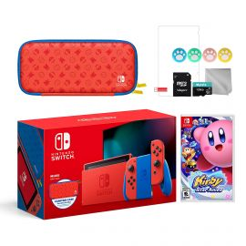 2021 New Nintendo Switch Mario Red & Blue Limited Edition with Mario Iconography Carrying Case and Screen Protector Bundle With Kirby Star Allies And Mytrix Accessories