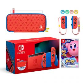2021 New Nintendo Switch Mario Red & Blue Limited Edition with Mario Iconography Carrying Case and Screen Protector Bundle With Kirby Star Allies And Mytrix Joystick Caps