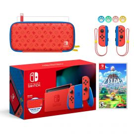 2021 New Nintendo Switch Mario Red & Blue Limited Edition with Mario Iconography Carrying Case and Screen Protector Bundle With Legend of Zelda Link's Awakening And Mytrix Joystick Caps