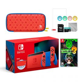 2021 New Nintendo Switch Mario Red & Blue Limited Edition with Mario Iconography Carrying Case and Screen Protector Bundle With Luigi's Mansion 3 And Mytrix Accessories