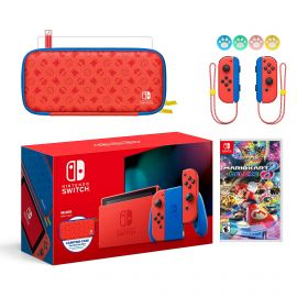 2021 New Nintendo Switch Mario Red & Blue Limited Edition with Mario Iconography Carrying Case and Screen Protector Bundle With Mario Kart 8 Deluxe And Mytrix Joystick Caps