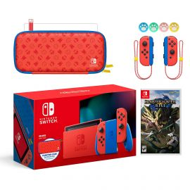 2021 New Nintendo Switch Mario Red & Blue Limited Edition with Mario Iconography Carrying Case and Screen Protector Bundle With Monster Hunter: Rise And Mytrix Joystick Caps