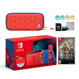 2021 New Nintendo Switch Mario Red & Blue Limited Edition with Mario Iconography Carrying Case and Screen Protector Bundle With Octopath Traveler And Mytrix Accessories
