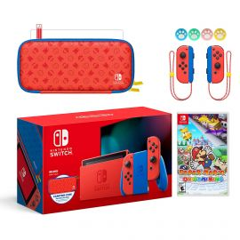 2021 New Nintendo Switch Mario Red & Blue Limited Edition with Mario Iconography Carrying Case and Screen Protector Bundle With Paper Mario: The Origami King And Mytrix Joystick Caps