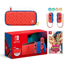 2021 New Nintendo Switch Mario Red & Blue Limited Edition with Mario Iconography Carrying Case and Screen Protector Bundle With Pokemon Shield And Mytrix Joystick Caps