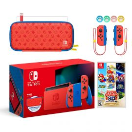 2021 New Nintendo Switch Mario Red & Blue Limited Edition with Mario Iconography Carrying Case and Screen Protector Bundle With Super Mario 3D All-Stars And Mytrix Joystick Caps