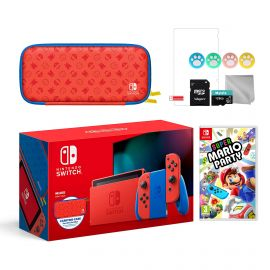2021 New Nintendo Switch Mario Red & Blue Limited Edition with Mario Iconography Carrying Case and Screen Protector Bundle With Super Mario Party And Mytrix Accessories