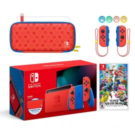 2021 New Nintendo Switch Mario Red & Blue Limited Edition with Mario Iconography Carrying Case and Screen Protector Bundle With Super Smash Bros. Ultimate And Mytrix Joystick Caps