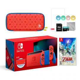 2021 New Nintendo Switch Mario Red & Blue Limited Edition with Mario Iconography Carrying Case and Screen Protector Bundle With The Legend of Zelda: Skyward Sword HD And Mytrix Accessories