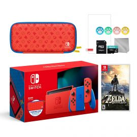 2021 New Nintendo Switch Mario Red & Blue Limited Edition with Mario Iconography Carrying Case and Screen Protector Bundle With Zelda: Breath of the Wild And Mytrix Accessories