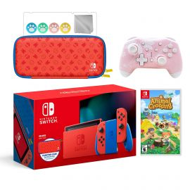 2021 New Nintendo Switch Mario Red & Blue Limited Edition with Mario Iconography Carrying Case Bundle With Animal Crossing: New Horizons And Mytrix Wireless Switch Pro Controller and Accessories