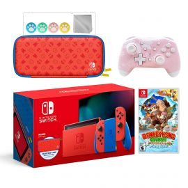 2021 New Nintendo Switch Mario Red & Blue Limited Edition with Mario Iconography Carrying Case Bundle With Donkey Kong Country And Mytrix Wireless Pro Controller and Accessories