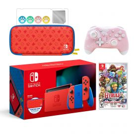 2021 New Nintendo Switch Mario Red & Blue Limited Edition with Mario Iconography Carrying Case Bundle With Hyrule Warriors And Mytrix Wireless Pro Controller and Accessories