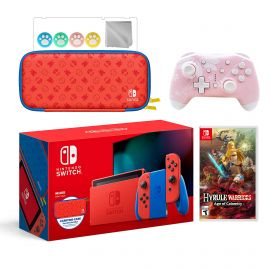 2021 New Nintendo Switch Mario Red & Blue Limited Edition with Mario Iconography Carrying Case Bundle With Hyrule Warriors: Age of Calamity And Mytrix Wireless Switch Pro Controller and Accessories