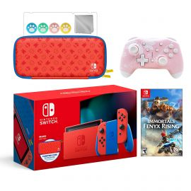 2021 New Nintendo Switch Mario Red & Blue Limited Edition with Mario Iconography Carrying Case Bundle With Immortals Fenyx Rising And Mytrix Wireless Switch Pro Controller and Accessories