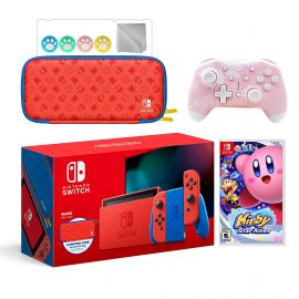 2021 New Nintendo Switch Mario Red & Blue Limited Edition with Mario Iconography Carrying Case Bundle With Kirby Star Allies And Mytrix Wireless Switch Pro Controller and Accessories