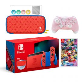 2021 New Nintendo Switch Mario Red & Blue Limited Edition with Mario Iconography Carrying Case Bundle With Mario Kart 8 Deluxe And Mytrix Wireless Switch Pro Controller and Accessories