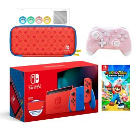 2021 New Nintendo Switch Mario Red & Blue Limited Edition with Mario Iconography Carrying Case Bundle With Mario Rabbids Kingdom Battle And Mytrix Wireless Controller and Accessories