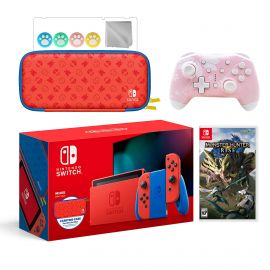 2021 New Nintendo Switch Mario Red & Blue Limited Edition with Mario Iconography Carrying Case Bundle With Monster Hunter: Rise And Mytrix Wireless Switch Pro Controller and Accessories