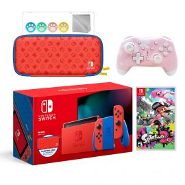 2021 New Nintendo Switch Mario Red & Blue Limited Edition with Mario Iconography Carrying Case Bundle With Splatoon 2 And Mytrix Wireless Switch Pro Controller and Accessories