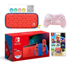 2021 New Nintendo Switch Mario Red & Blue Limited Edition with Mario Iconography Carrying Case Bundle With Super Mario 3D All-Stars And Mytrix Wireless Switch Pro Controller and Accessories