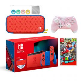 2021 New Nintendo Switch Mario Red & Blue Limited Edition with Mario Iconography Carrying Case Bundle With Super Mario Odyssey And Mytrix Wireless Switch Pro Controller and Accessories